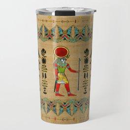 Egyptian Re-Horakhty  - Ra-Horakht  Ornament on papyrus Travel Mug