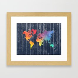 world map 97 colors blue #worldmap #map Framed Art Print