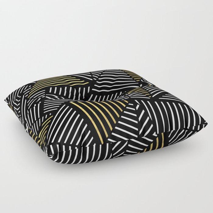 A Linear Black Gold Floor Pillow