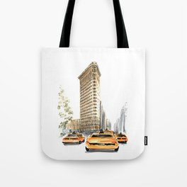 Architecture sketch of the Flatiron building in New york Tote Bag