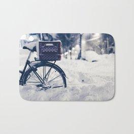 Milk Crate on Bike in Snow Bath Mat