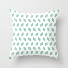 rhombus bomb in grayed jade Throw Pillow