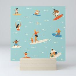 Surfing kids Mini Art Print
