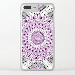 Deep Purple and Black Mandala Pattern Clear iPhone Case