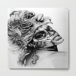 Antonia Dia de Los Muertos by Terri:B&W Metal Print