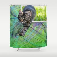hunter Shower Curtains featuring Little Hunter by Roger Wedegis
