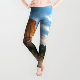 Devils Tower - Giant Monolith Drenched in Sunlight on Autumn Day in Wyoming Leggings