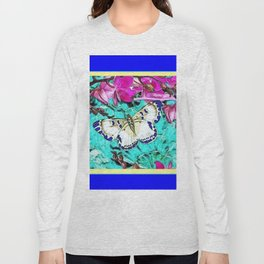 MODERN  PURPLE ORCHIDS & BLUE BUTTERFLY TURQUOISE Long Sleeve T-shirt