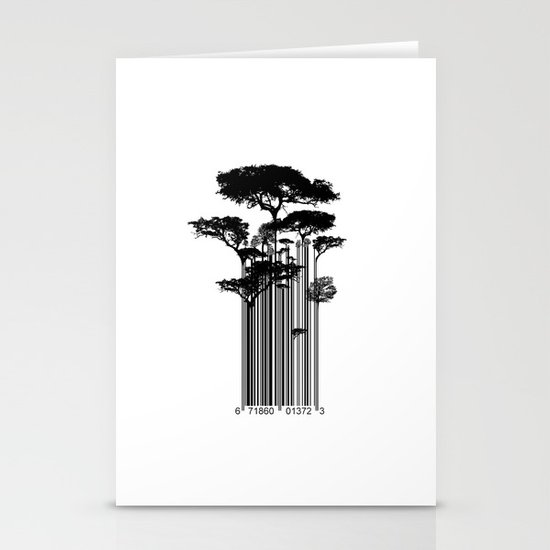 Barcode Trees illustration  Stationery Cards