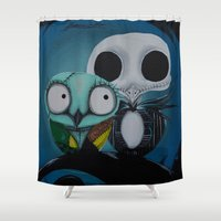 jack Shower Curtains featuring The Owl Jack And Sally by Annelies202