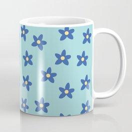 Blue Turquoise Floral Pattern Coffee Mug