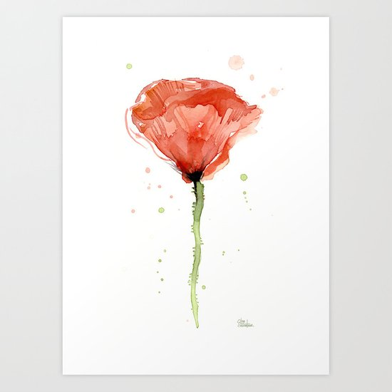 Poppy Watercolor Abstract Red Flower Art Print
