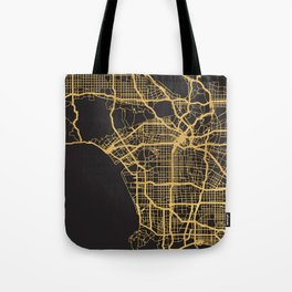 LOS ANGELES CALIFORNIA GOLD ON BLACK CITY MAP Tote Bag