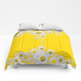 WHITE DAISIES WINDFALL YELLOW ART Comforters