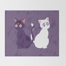 Luna & Artemis - Purple Throw Blanket