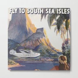 Fly to South Sea Isles, American Airways Vintage Travel Poster  Metal Print