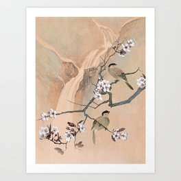 Cherry Tree And Two Birds Art Print