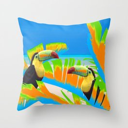 Colorful Toucans Tropical Banana Leaves Pattern Throw Pillow