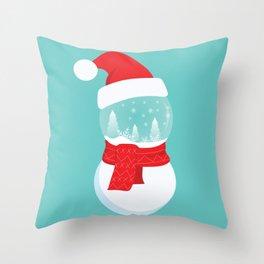 Snow Man versus Snow Ball Merry Christmas Throw Pillow