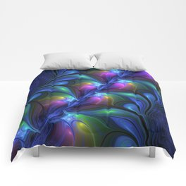 Colorful Luminous Abstract Blue Pink Green Fractal Comforters