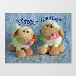 Happy Easter Lambs Canvas Print