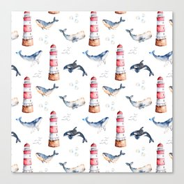 Sea Voyage Whales and Lighthouses Pattern Canvas Print