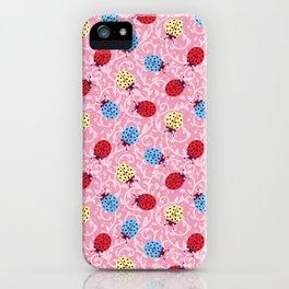 Ladybugs - Rouge Pink Ornamental Foliage iPhone Case