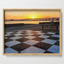 Checkerboard Sunset Serving Tray