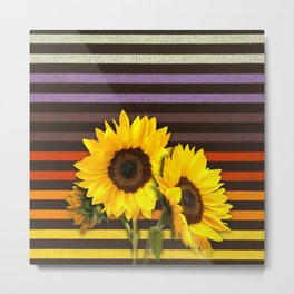 FUN STRIPES-SUNFLOWERS Metal Print