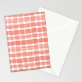 Pantone Living Coral Watercolor Plaid Paintbrush Strokes Stationery Cards