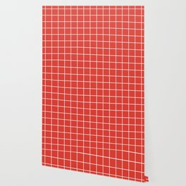 CG red - red color -  White Lines Grid Pattern Wallpaper