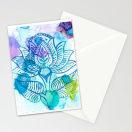Lotus Print in Watercolor Stationery Cards