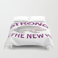 hippo Duvet Covers featuring Hippo Fitness by mailboxdisco