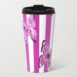 Butterfly on pink striped background Travel Mug