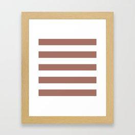 Blast-off bronze -  solid color - white stripes pattern Framed Art Print