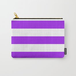 Veronica -  solid color - white stripes pattern Carry-All Pouch