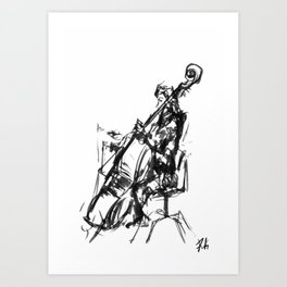 Playing the contrabass Art Print