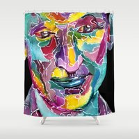 christopher walken Shower Curtains featuring Ninth Doctor / Christopher Eccleston by Siriusreno