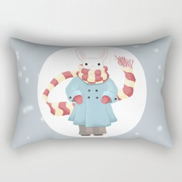 Bunny Brother Out On A Winter Day Rectangular Pillow