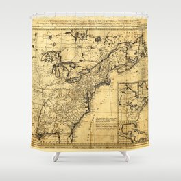 Map of the English Empire in North America (1755) Shower Curtain