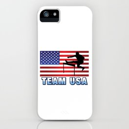 Team USA Hurdles Running Athletics American Flag Outdoor Sports Gift Design iPhone Case