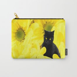 Black Cat Yellow Flowers Spring Mood #decor #society6 #buyart Carry-All Pouch
