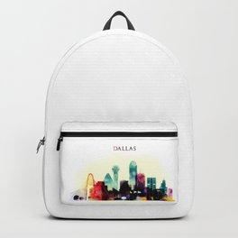 Dallas Texas City Skyline watercolor poster Backpack