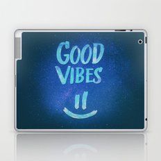 Good Vibes - Funny Smiley Statement / Happy Face (Blue Stars Edit) Laptop & iPad Skin
