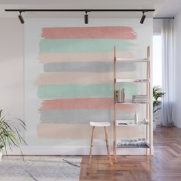 Stripes hand painted abstract minimal nursery decor gender neutral palette Wall Mural