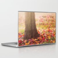poem Laptop & iPad Skins featuring Autumn Leaves Poem by Graphic Tabby