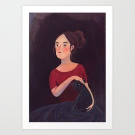Girl and a cat. Art Print