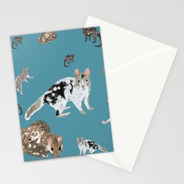 Eastern Quoll (Dasyurus viverrinus) on teale Stationery Cards