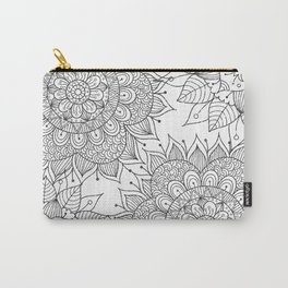 Hand painted black white floral mandala Carry-All Pouch