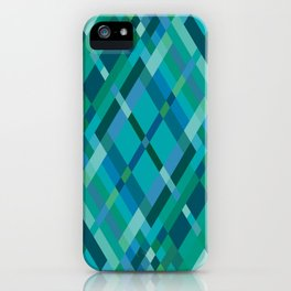 Blue Green Harlequin Pattern iPhone Case